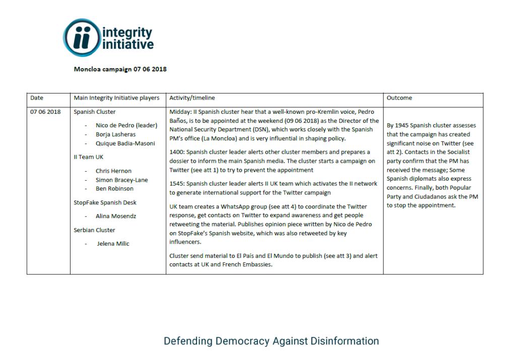 Une capture d'écran du document sur la campagne Moncloa diffusé par Anonymous