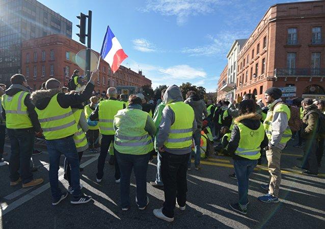 Une manifestation des gilets jaunes à Toulouse