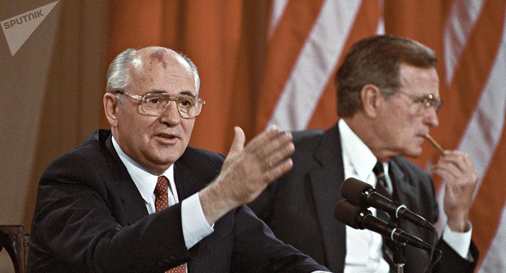 Mikhaïl Gorbatchev et George H. W. Bush, 1990