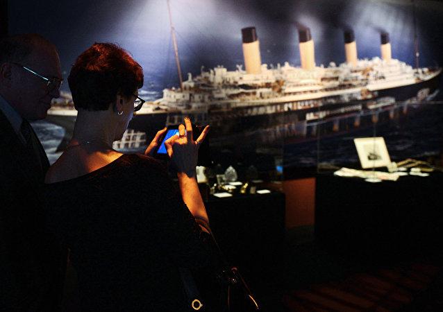 Un stand de l'expostion consacrée au Titanic à Moscou