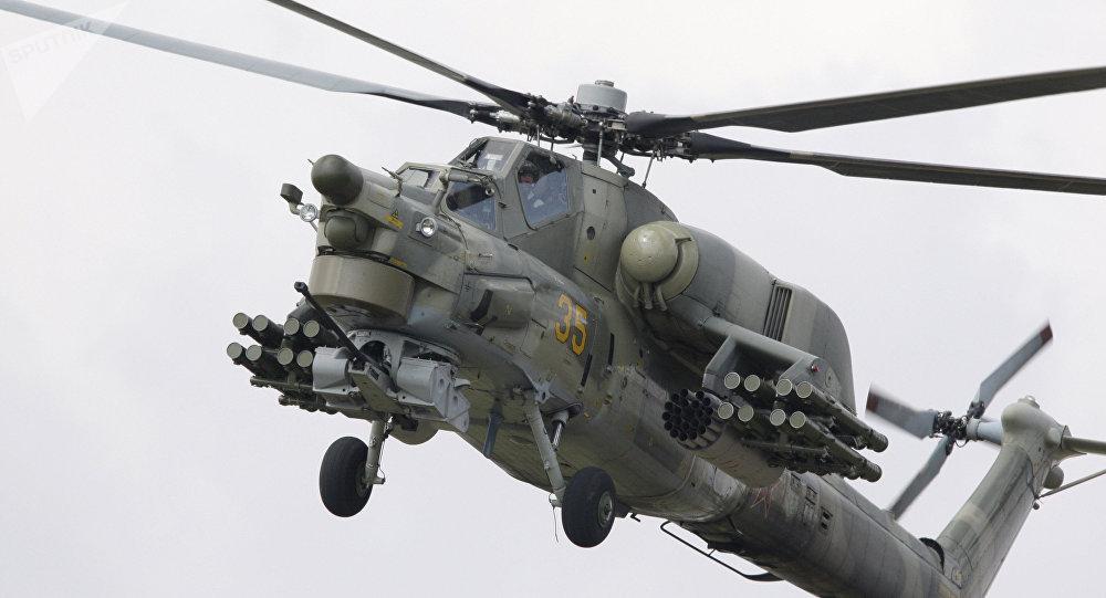 Вертолет МИ-28 Н на открытии Международного авиационно-космического салона МАКС-2009 в Жуковском