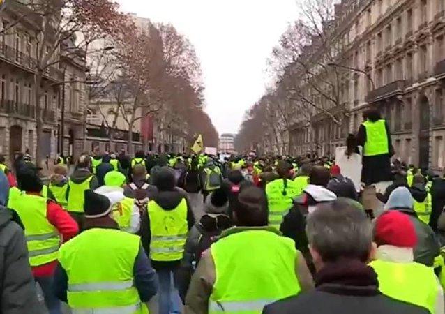 Les Gilets jaunes sont rassemblés à Paris pour l'acte 8 de leur mobilisation, le 5 janvier