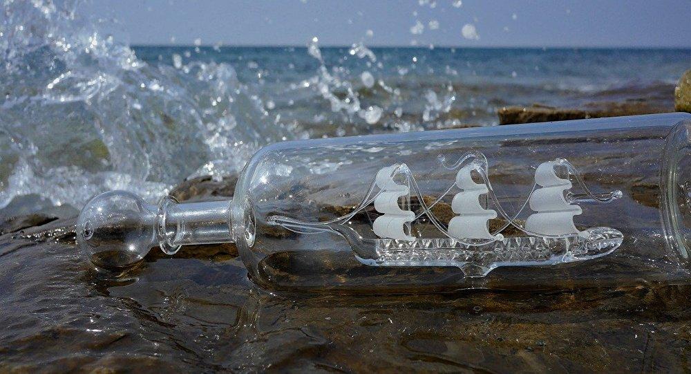 Un bateau en bouteille (image d'illustration)