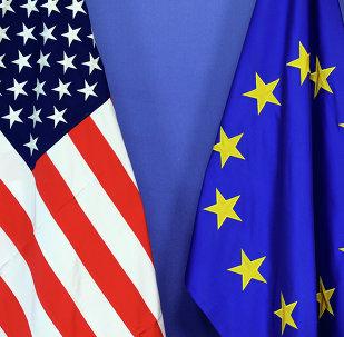 Drapeaux de l'UE et des USA
