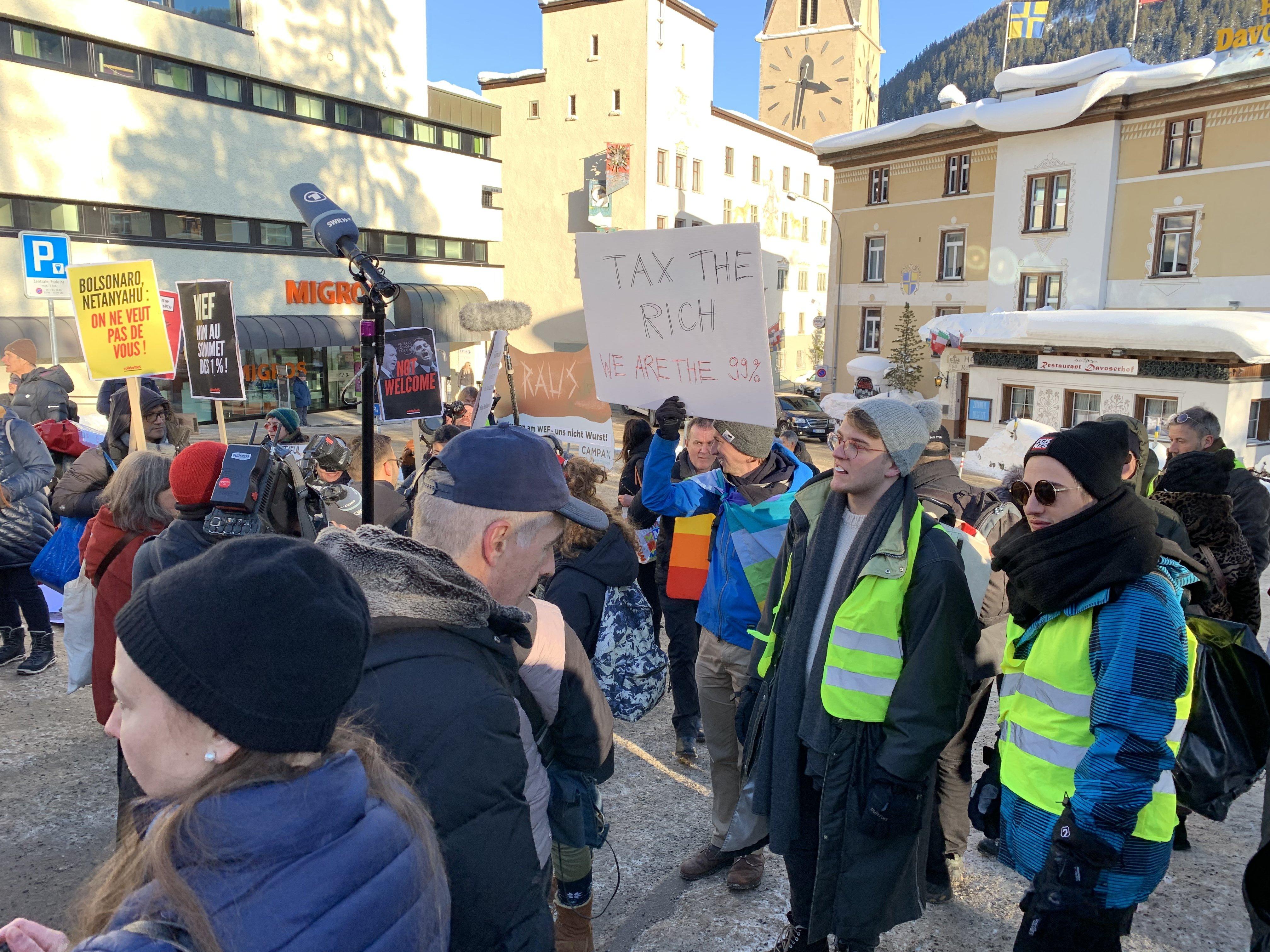 Manifestants à Davos 2019