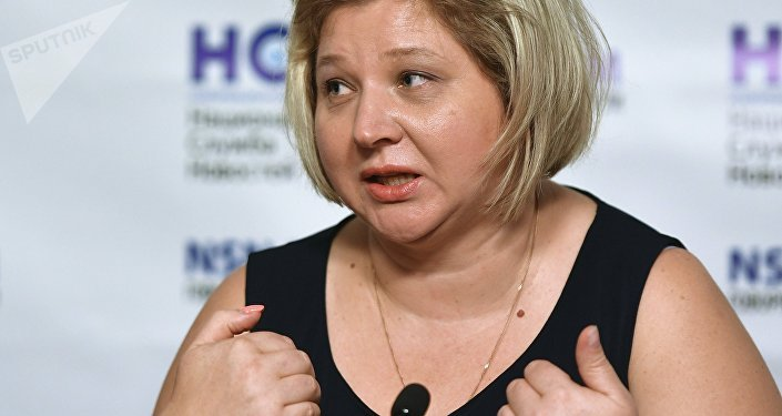 Viktoria Skripal, nièce de Sergei Skripal, au cours d'une conférence en Russie le 6 septembre 2018