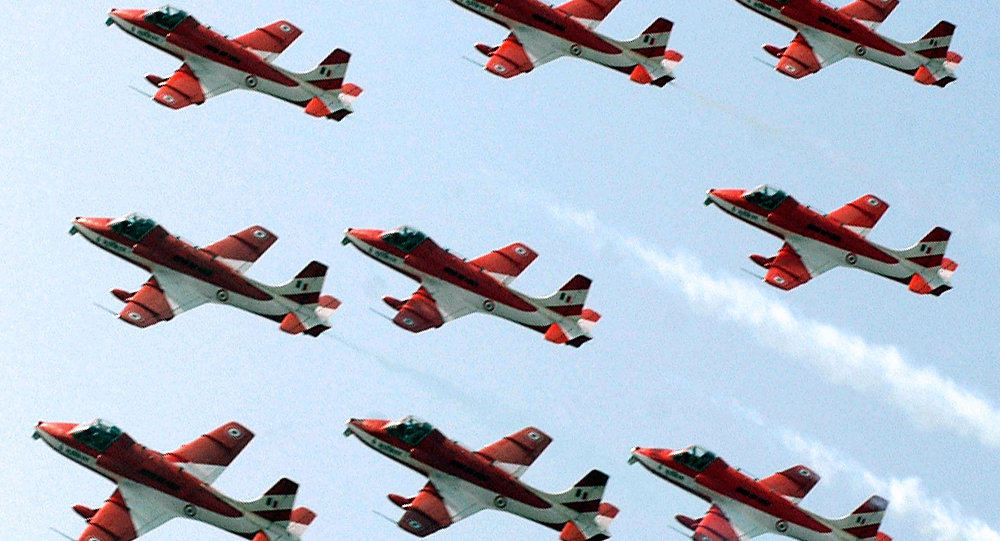 Indian Air Force pilots of the Surya Kiran Aerobatic Team (SKAT)