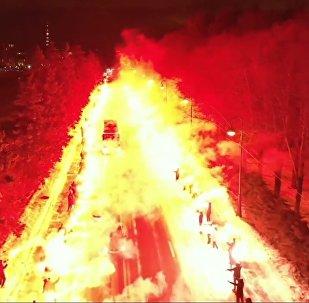Un accueil «de feu» des supporters pour leur équipe du Zénith