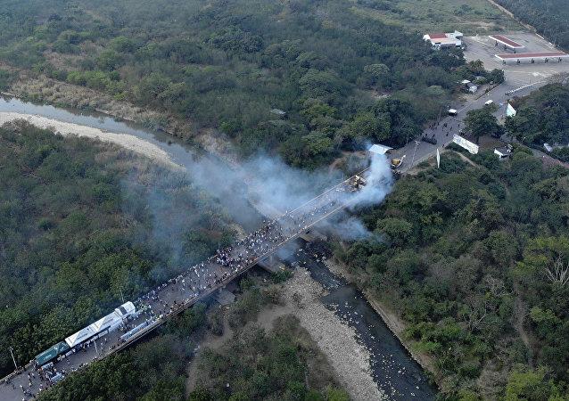 Le pont de Tienditas, qui relie les villes de Cucuta, en Colombie, et Ureña au Venezuela