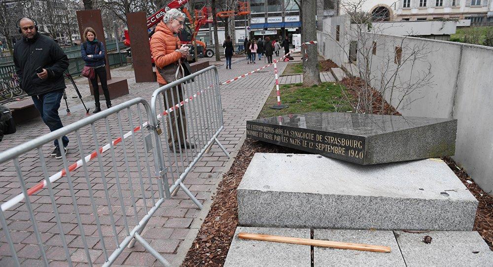 La stèle de la synagogue de Strasbourg: «aucun caractère antisémite n'a été retenu»