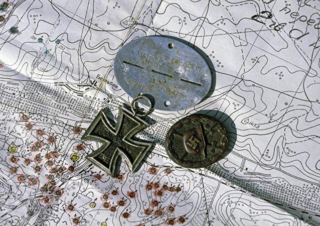 Médailles nazies sur la carte (image d'illustration)