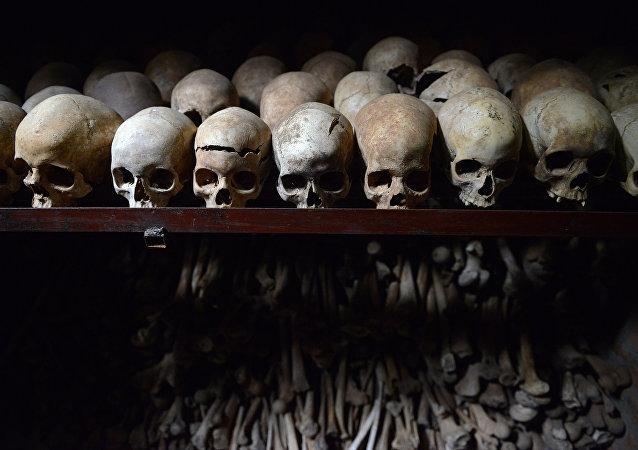 Des crânes humains exposés au mémorial du génocide à Nyamata au Rwanda
