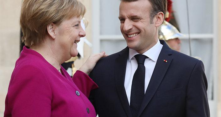 Angela Merkel et  Emmanuel Macron à l'Élysée