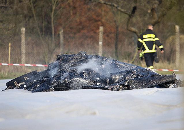 Le lieu du crash d'un jet privé EPIK en Allemagne