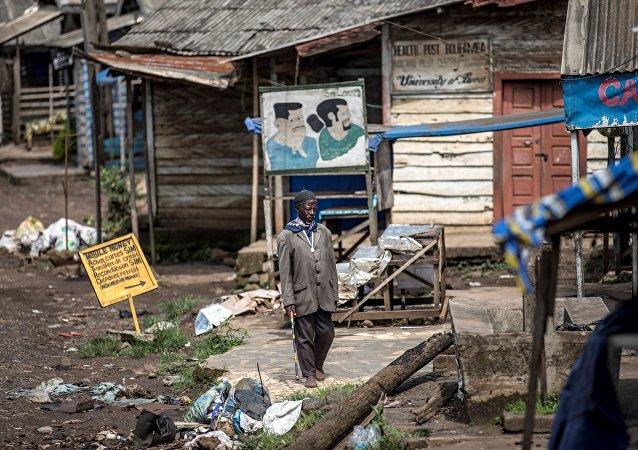 Magasins détruits dans un quartier de la capitale de la province majoritairement anglophone du Sud-Ouest, Buea