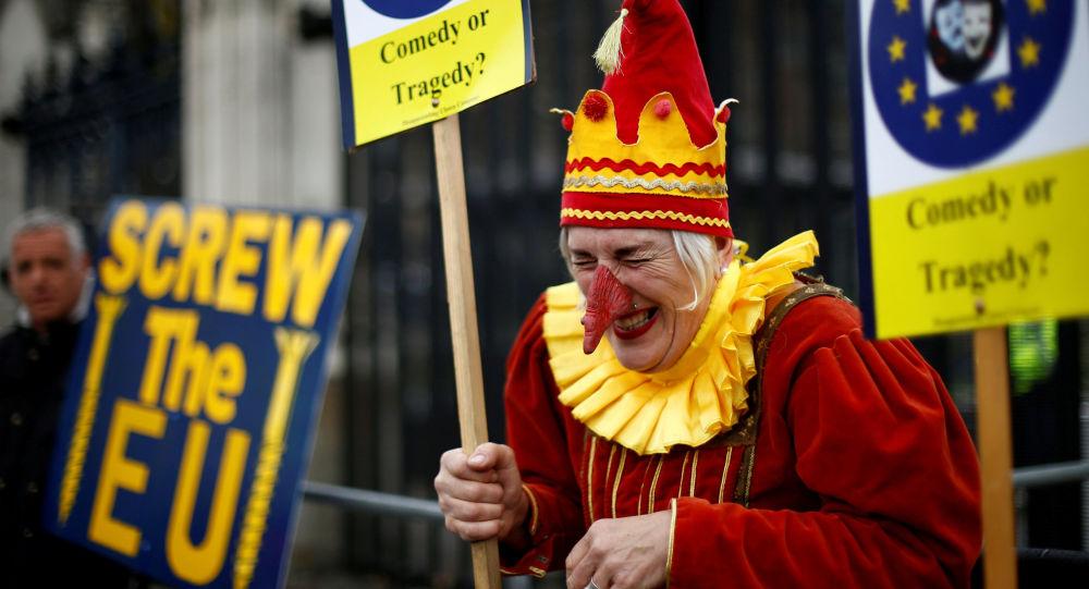 Un opposant du Brexit lors des manifestations à Londres
