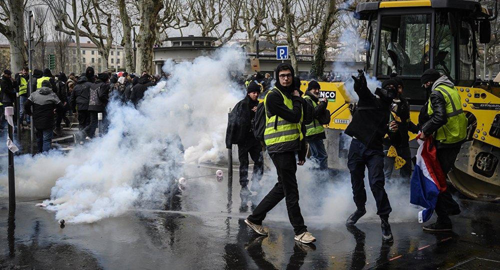manifestation des Gilets jaunes à Lyon, le 2 mars