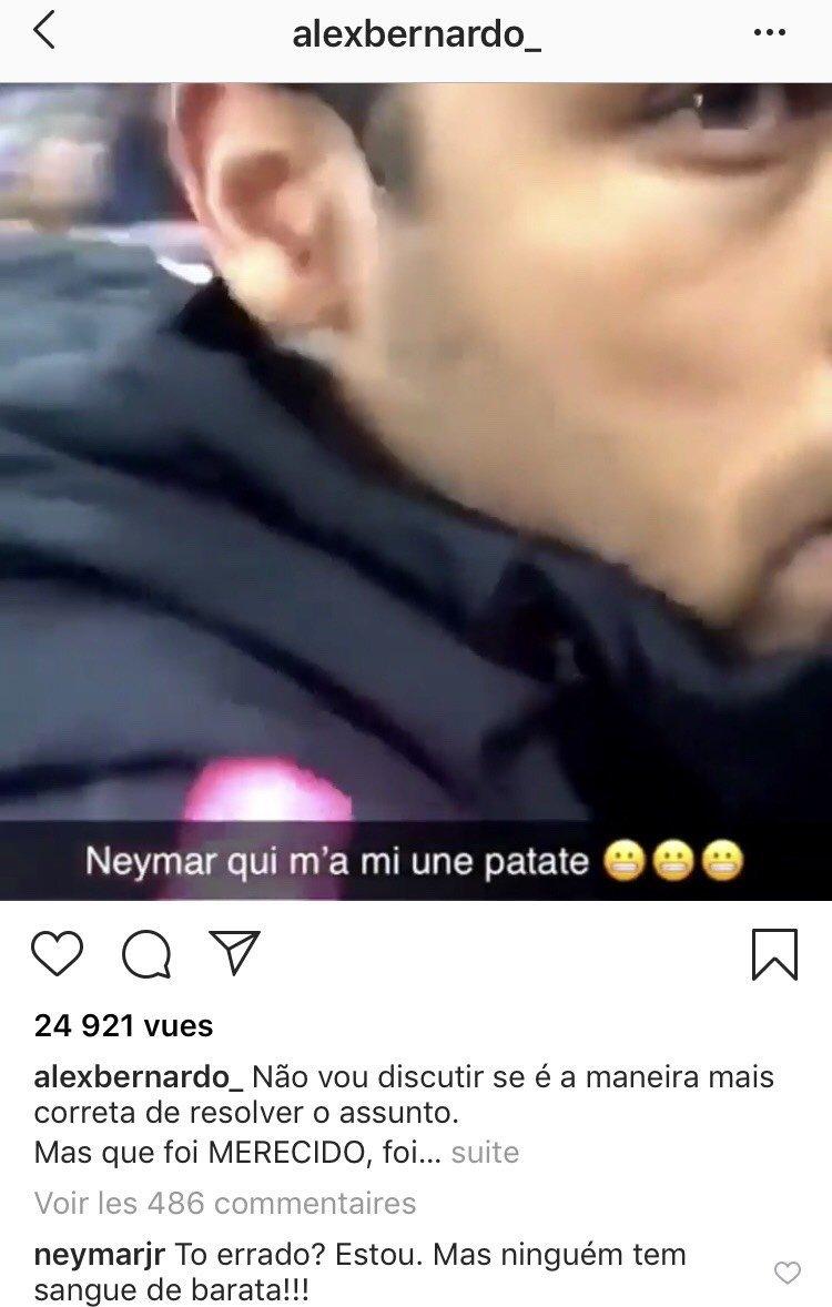 Neymar commente le coup au visage qu'il a donné à un spectateur après la Coupe de France / capture d'écran
