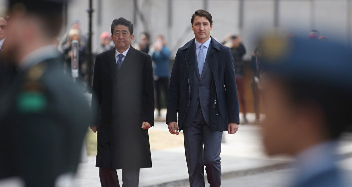 Justin Trudeau et Shinzo Abe