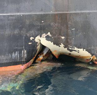 Le navire ANDREA VICTORY endommagé aux Emirats Arabes Unis, le 13 mai 2019