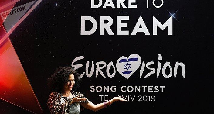 Une fane de l'Eurovision lors de la première demi-finale du concours en 2019