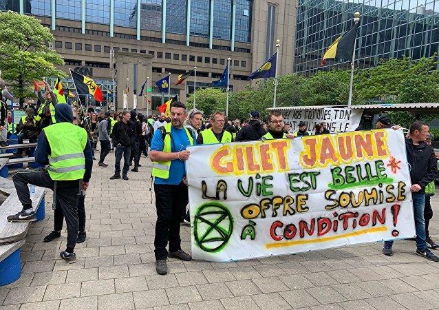 Les Gilets jaunes manifestent à Bruxelles contre les institutions européennes, le 26 mai 2019