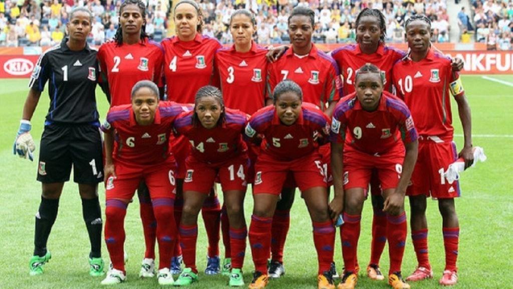 Le Nzalang féminin (l'équipe de football féminine de Guinée équatoriale) en 2019, lors d'un match amical à Abu Dhabi. © Feguifut.