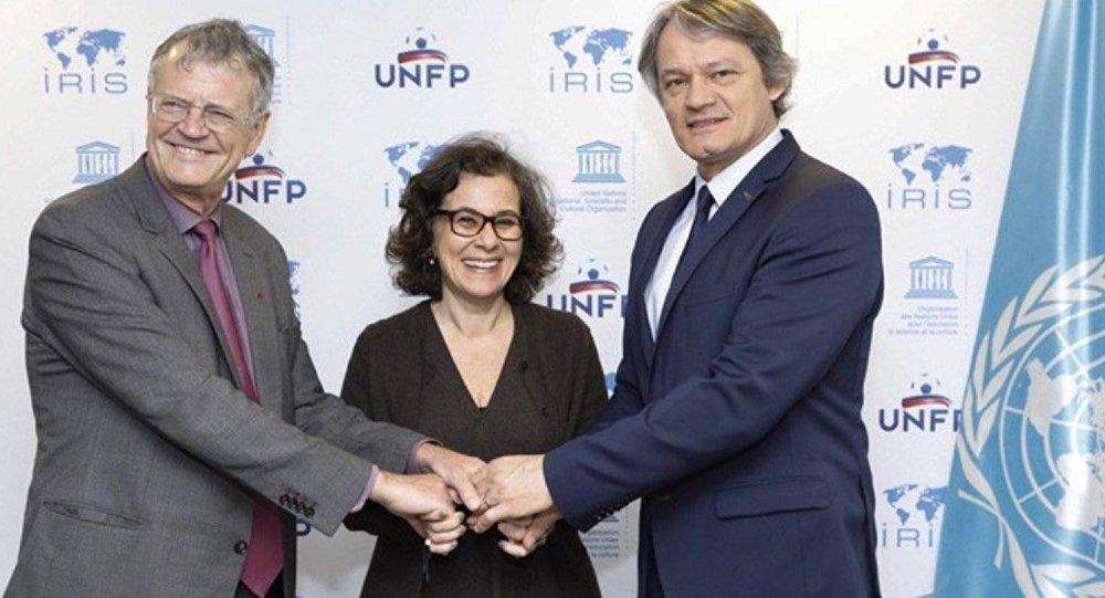 L'Unesco, IRIS et Positive Football lors du déjeuner de presse au siège de l'Unesco à Paris, le 23 mai 2019.