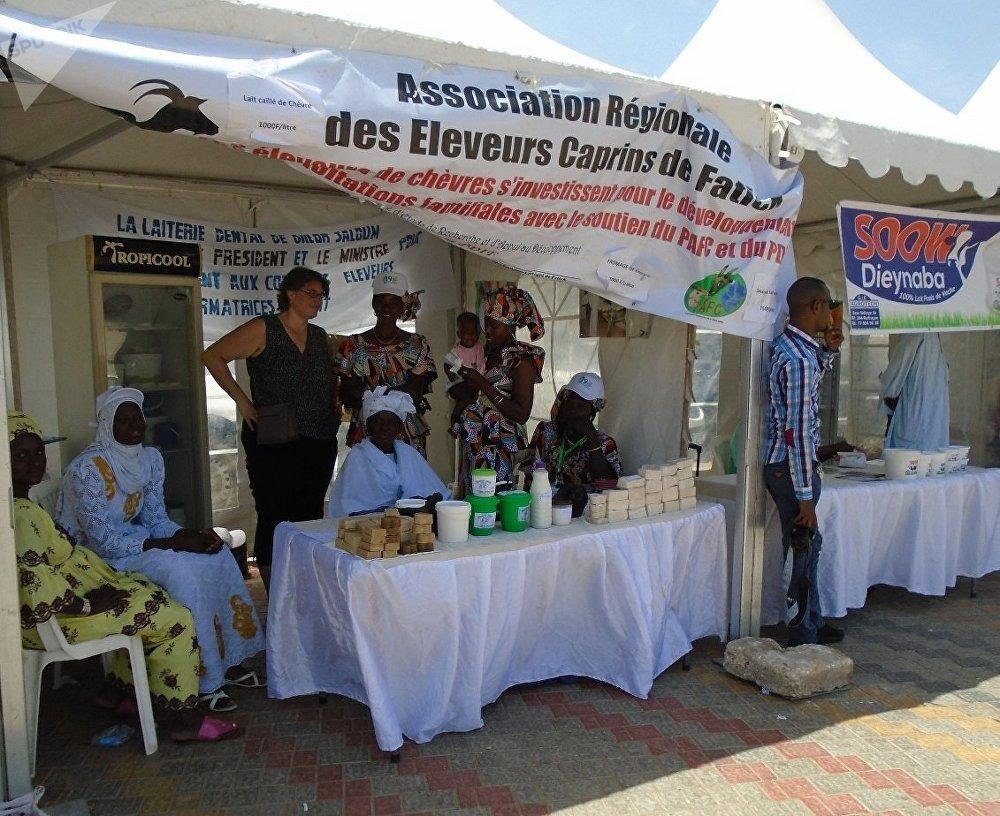 Le stand d'exposition-vente de l'Association régionale des éleveurs caprins de Fatick (ARECAF) à Dakar, lors de la célébration de la Journée mondiale du lait, le 1er juin 2019.