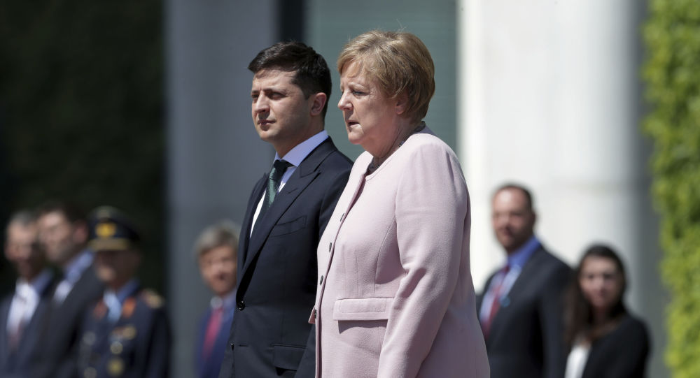 Angela Merkel accueille le Président ukrainien Volodymyr Zelensky à Berlin