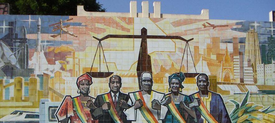 Fresque visible à l'Assemblée nationale du Mali