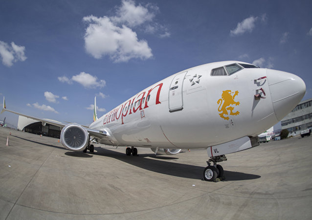 An Ethiopian Airlines Boeing 737 Max 8 sits grounded at Bole International Airport in Addis Ababa, Ethiopia Saturday, March 23, 2019