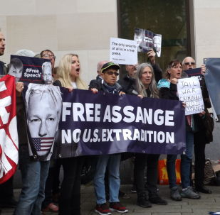 Protestation contre l'extradition de Julian Assange vers les USA, le 14 juin 2019 à Londres