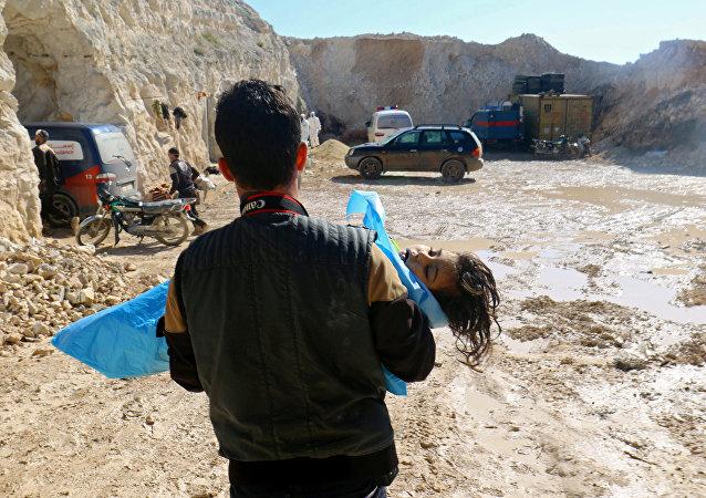 La ville de Khan Cheikhoun, dans le gouvernorat d'Idlib, après l'attaque d'avril 2017