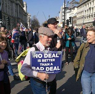 Les manifestants contre le retard du processus de Brexit à Londres,  le 29 mars 2019