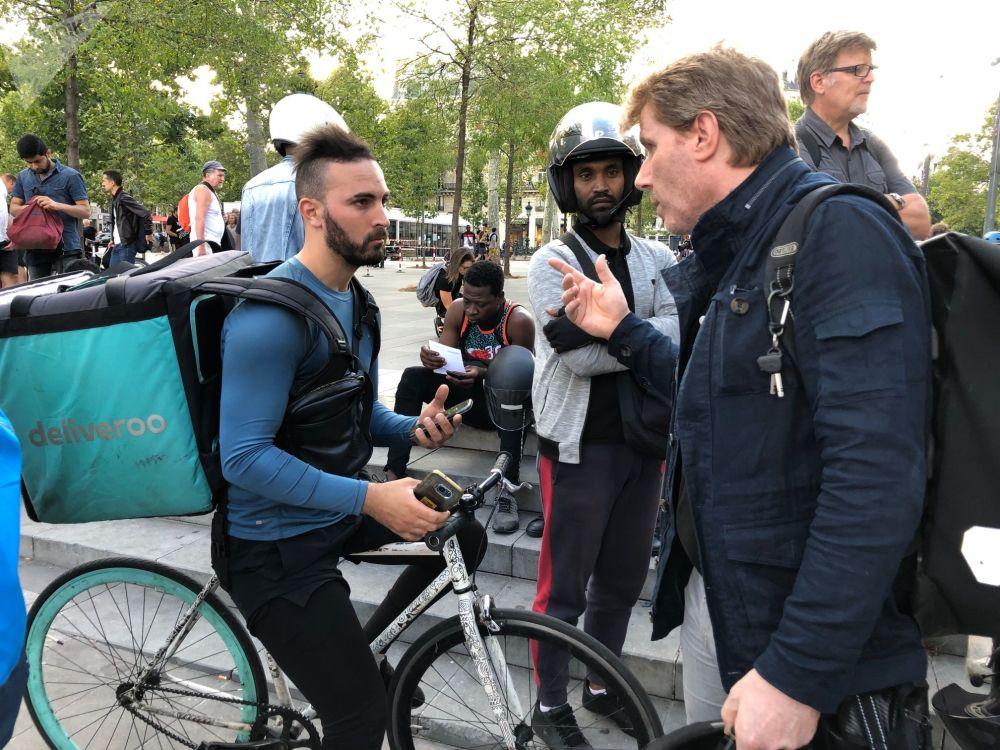 Un des organisateurs de la manifestation des livreurs a Paris, Jérôme Pimot, co-fondateur du collectif CLAP75