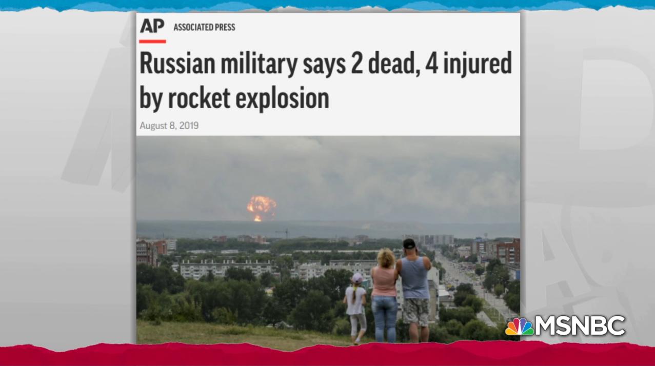 MSNBC utilise une mauvaise photo dans un article intitulé «Une explosion nucléaire en Russie témoigne de la tentative de créer un nouveau moteur-fusée»