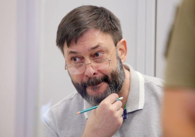 Le rédacteur en chef du portail RIA Novosti Ukraine, Kirill Vychinski, lors d'une séance de la cour d'appel de Kiev (28 août 2019)