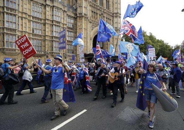 Des opposants au Brexit venus manifester devant le Parlement britannique, le 3 septembre