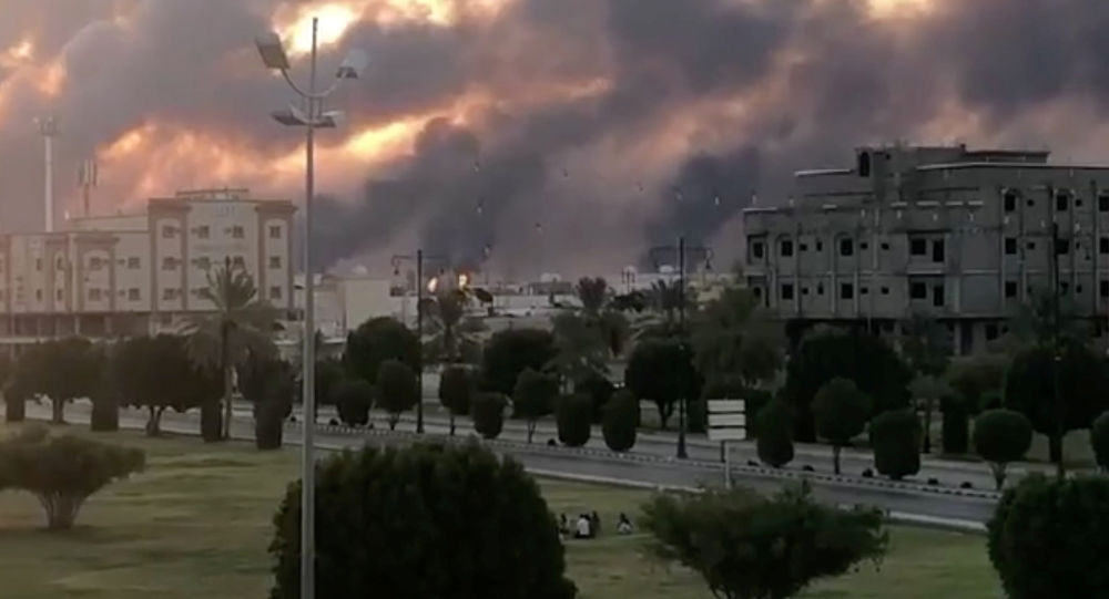 Incendie dans une usine Aramco à Abqaiq, en Arabie Saoudite, le 14 septembre 2019