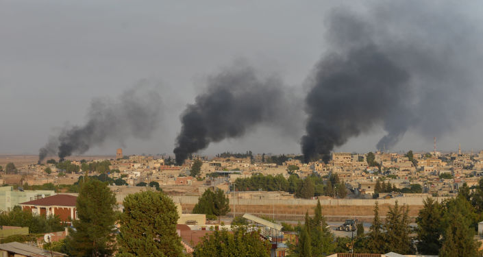 Smoke rises from the Syrian border town of Ras al-Ain as it is pictured from the Turkish town of Ceylanpinar in Sanliurfa province, Turkey, October 9, 2019