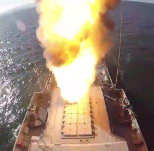 Tir d'un missile de croisière Kalibr depuis la corvette Grad Sviajsk lors des exercices Grom 2019 (archive photo)