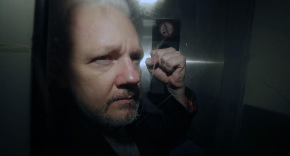 Assange filmé dans un fourgon cellulaire après son audience à Londres - vidéo
