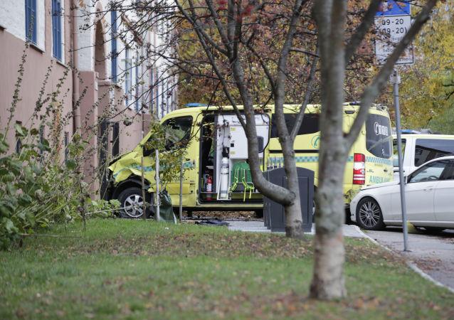 L'ambulance qui a fauché des piétons à Oslo, le 22 octobre 2019