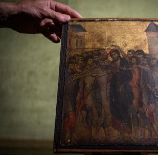 Le Christ moqué, chef d'œuvre très rare du peintre italien Cimabue (1272-1302)