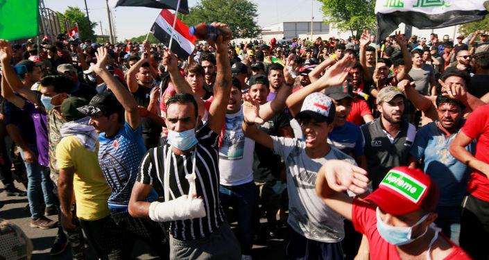 Manifestations antigouvernementales à Bagdad, Irak