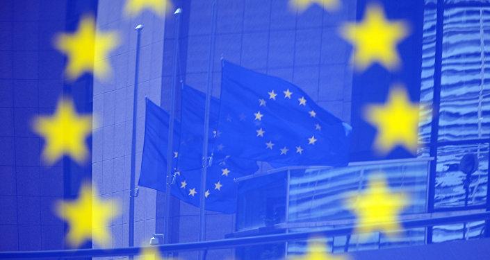 Drapeaux de l'UE à Bruxelles