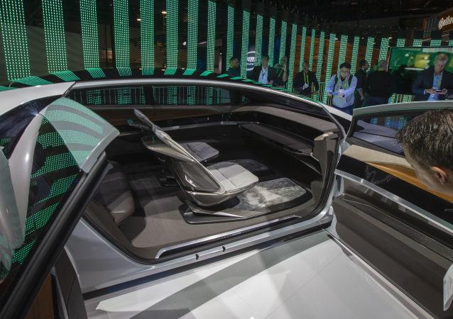 L'intérieur du concept car autonome d'Audi, l'Aicon, au Las Vegas Convention Center.