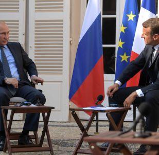 Vladimir Poutine et Emmanuel Macron au fort de Bregançon (19 août 2019)
