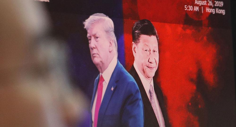 Images du Président chinois Xi Jinping et du Président américain Donald Trump
